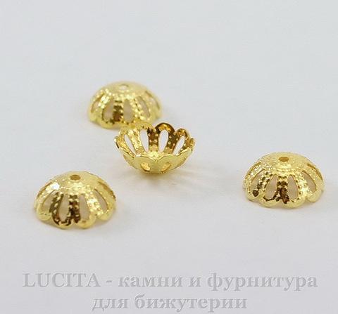 Шапочка для бусины филигранная (цвет - золото) 9х4 мм, 10 штук