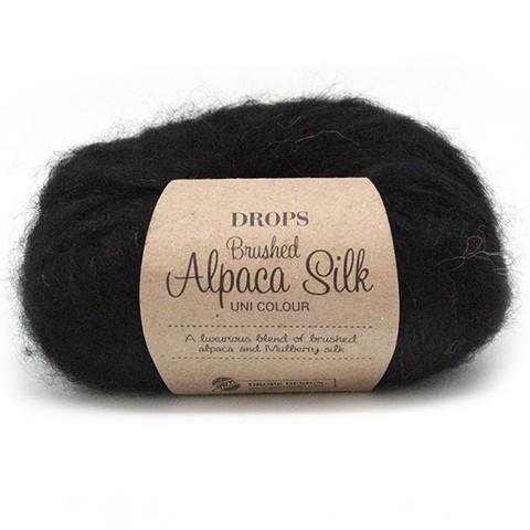 Пряжа Drops Brushed Alpaca Silk 16 черный