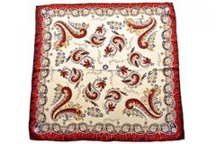 Итальянский платок из шелка белый с бордовым орнаментом 5752