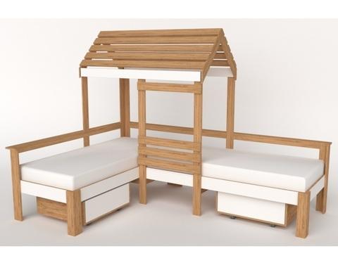 Кровать-домик АВАРА-4 со стенкой, крышей и ящиками