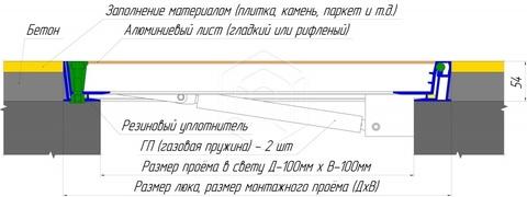 Люк напольный Универсал Люкс Лайт (с амортизаторами)  600х 600