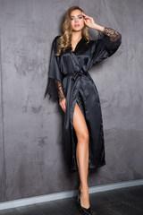 Длинный домашний женский халат Evelin черного цвета