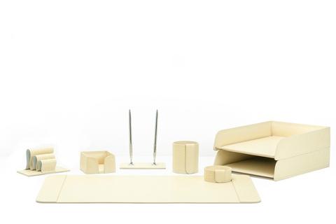 Письменный набор для руководителя из кожи Treccia/слоновая кость 8 предметов