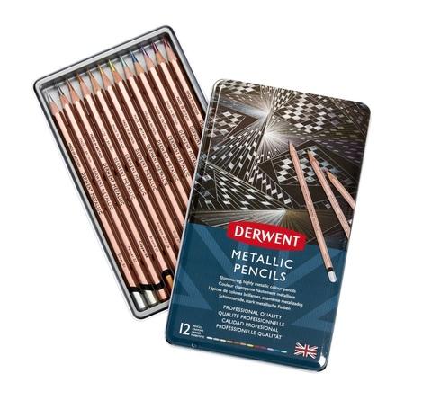 Набор цветных карандашей Metallic 12цв в метал.упак