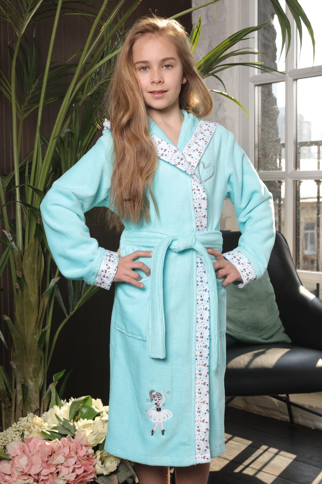 Халаты Balerinka бирюза детский халат для девочки  Five Wien Турция Balerinka__Тиффани.jpg