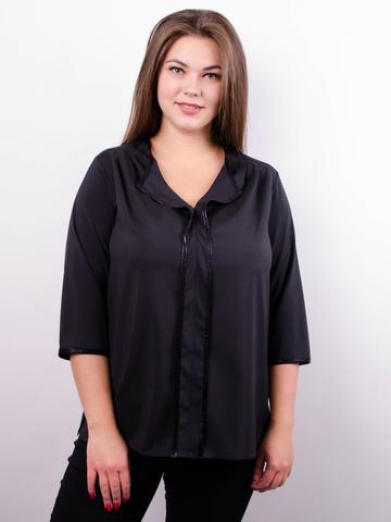 c924e4dd399 Вега. Оригинальная женская блуза плюс сайз. Черный.