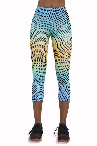 Легинсы для фитнеса в горох укороченные разноцветные