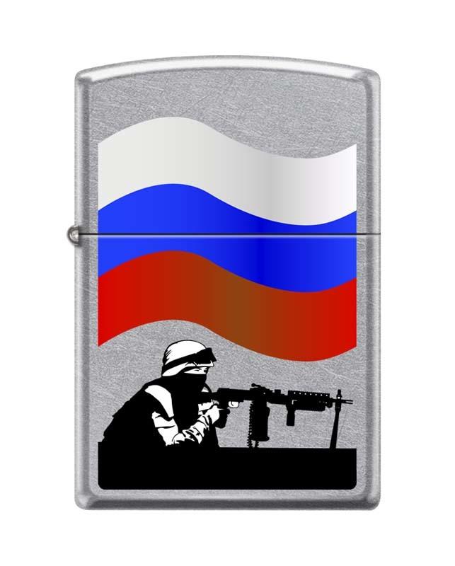 Зажигалка ZIPPO Classic Street Chrome™ с изображением российского солдата с оружием ZP-207 RUSSIAN SOLDIER