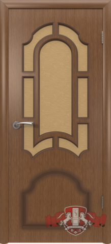 Дверь Владимирская фабрика дверей Кристалл 3ДР3, стекло бронза художественное, цвет орех, остекленная