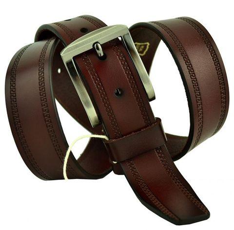 Ремень мужской красно-коричневый коньячный классический брючный 35 мм из кожи с греческим орнаментом меандром 35SVAR-006