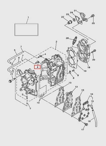 Штуцер выпуска для лодочного мотора T15, OTH 9,9 SEA-PRO (2-4)