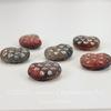 "Бусина ""Аммонит""  (цвет - красно-серый с блестками) 17х13 мм , 6 штук"
