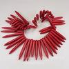 Бусина Говлит (тониров), продолговатая, цвет - красный, 20-50х5 мм, нить