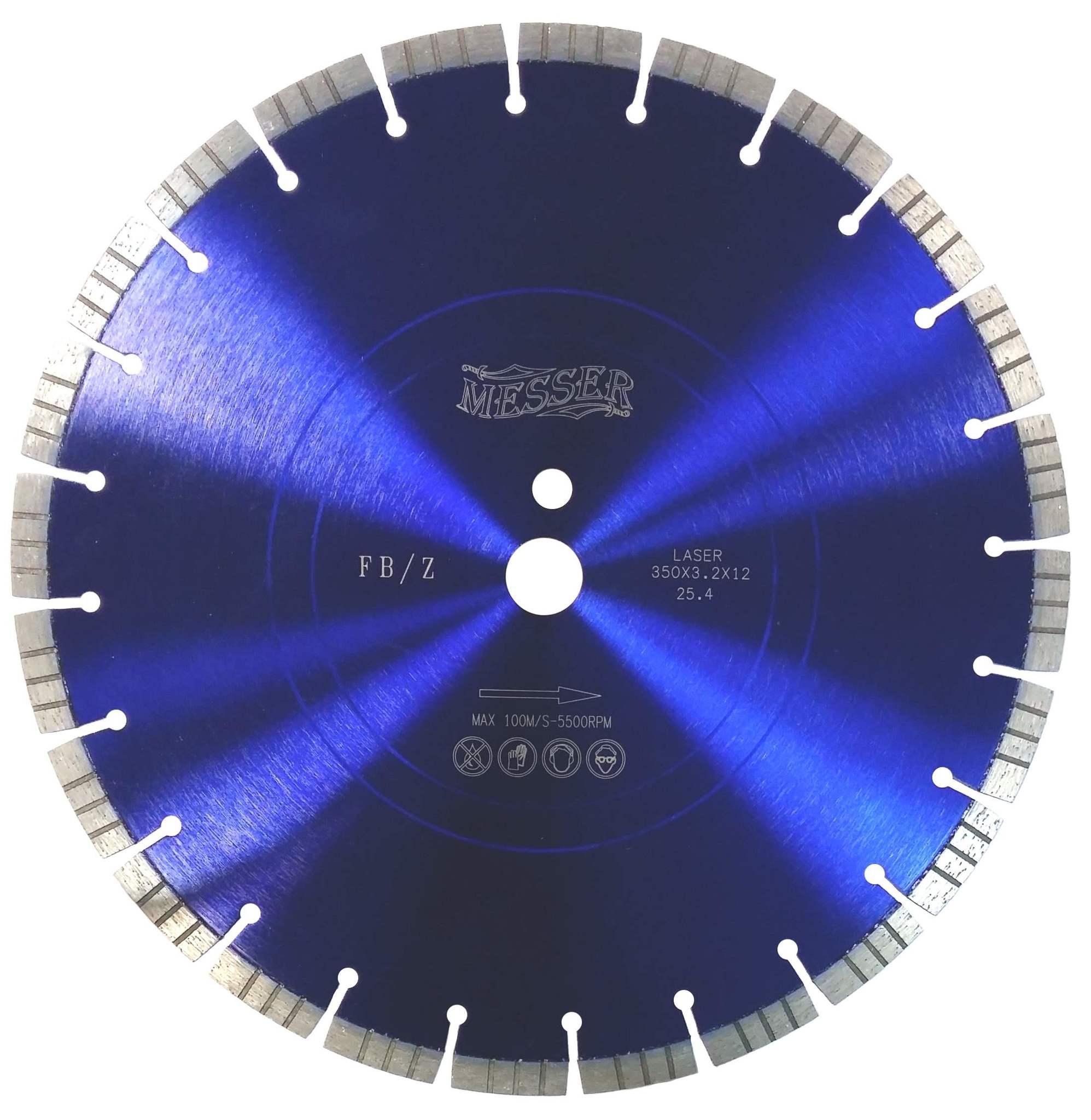 Диск алмазный турбосегментный MESSER FB/Z по железобетону, с возможностью сухой резки  350D-3.2T-12W-24S-25.4