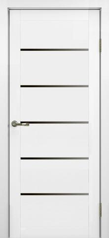 > Экошпон Optima Porte Турин 506.12, стекло лакобель чёрное, цвет белый монохром, остекленная