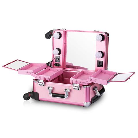 Бьюти кейс визажиста на колесиках (мобильная студия) LC006 Pink