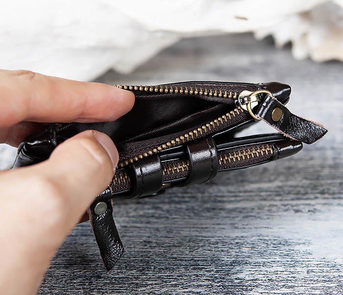 WL307-1 Вместительный мужской кошелек из черной кожи фото 04