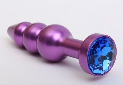 Фиолетовая фигурная анальная ёлочка с синим кристаллом - 11,2 см.