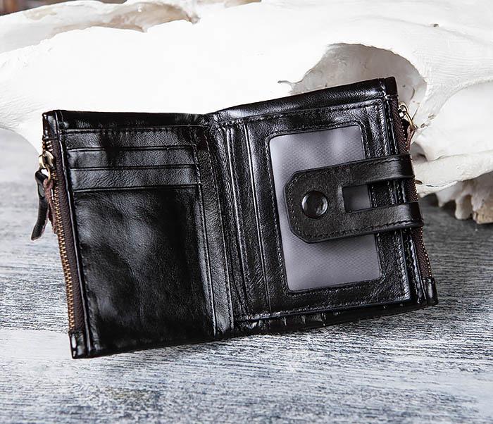 WL307-1 Вместительный мужской кошелек из черной кожи фото 05