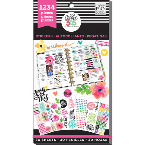 Блокнот со стикерами для ежедневника Create 365 Happy Planner Sticker Value Pack- Today Is The Day.  1234 шт