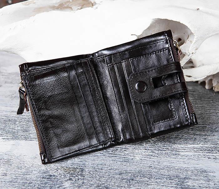 WL307-1 Вместительный мужской кошелек из черной кожи фото 06