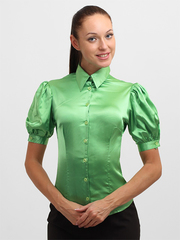 4143-4 блузка женская, зеленая