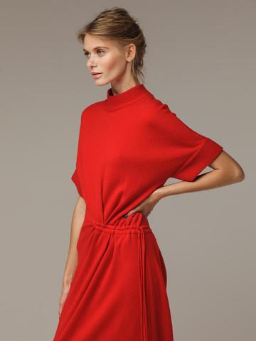 Женское красное платье из 100% шерсти - фото 4