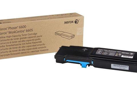 Тонер-картридж голубой повышенной ёмкости Xerox Phaser 6600 / WC6605 (106R02233). Ресурс 6000 страниц