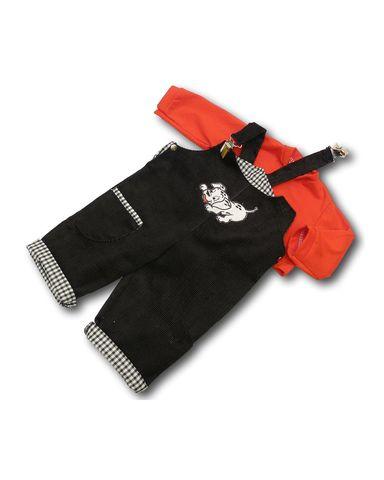 Полукомбинезон из вельвета - Красный. Одежда для кукол, пупсов и мягких игрушек.