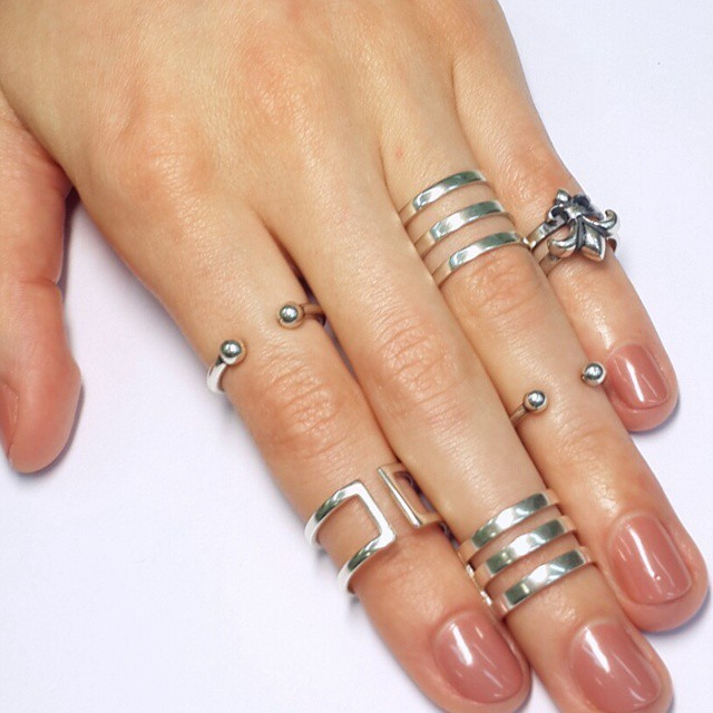 Knuckle midi rings, sterling silver