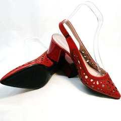 Кожаные босоножки туфли с острым носком женские G.U.E.R.O G067-TN Red.