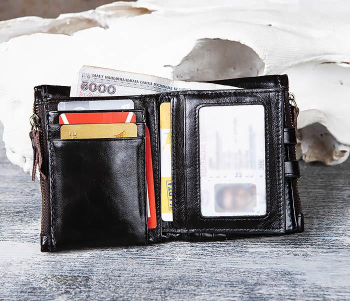 WL307-1 Вместительный мужской кошелек из черной кожи фото 09