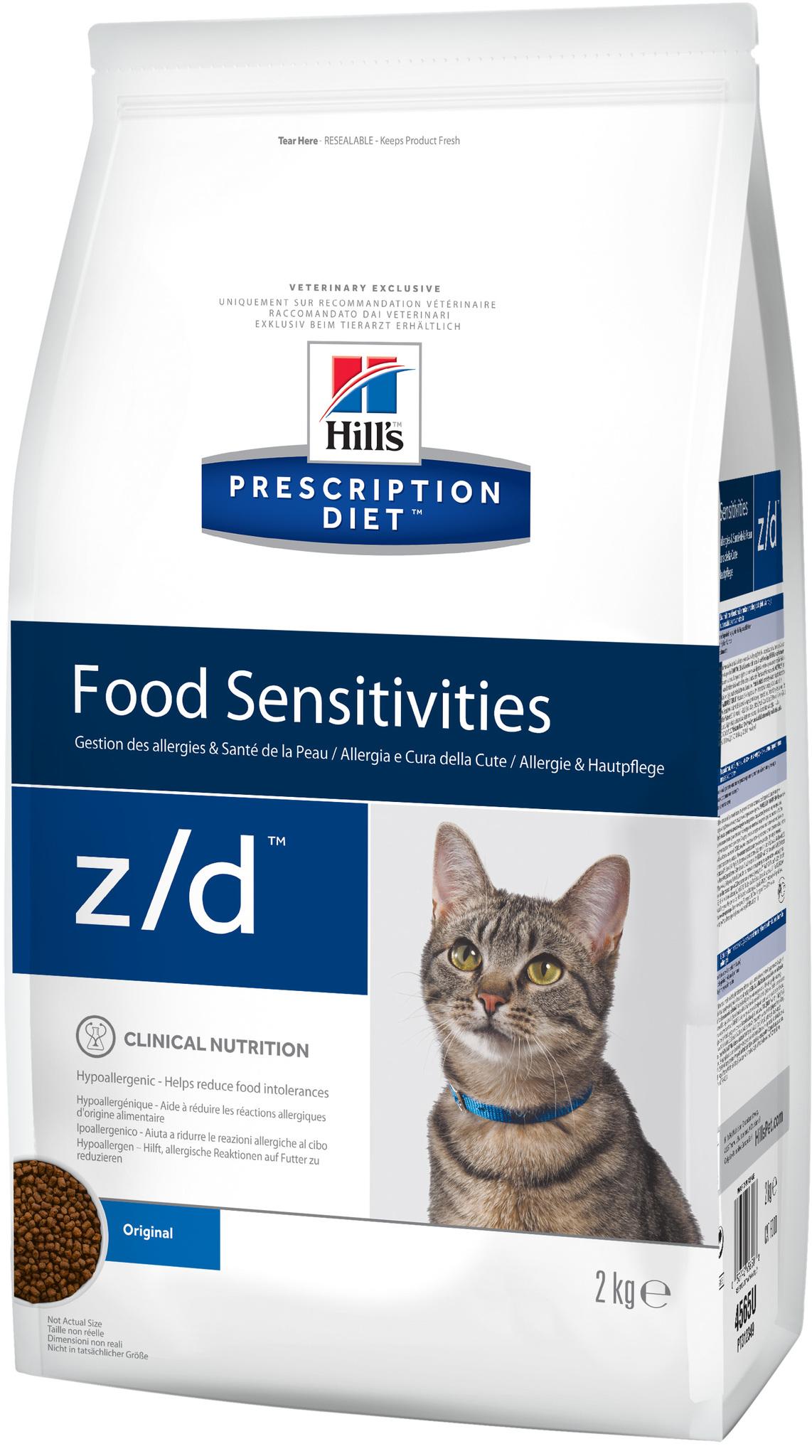 купить хиллс Hill's™ Prescription Diet™ Feline z/d™ Food Sensitivities сухой корм для взрослых кошек, диетический рацион при пищевых аллергиях 2 кг процент белка