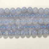 Нить бусин из халцедона голубого, шар гладкий 6мм