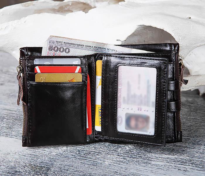 WL307-1 Вместительный мужской кошелек из черной кожи фото 10