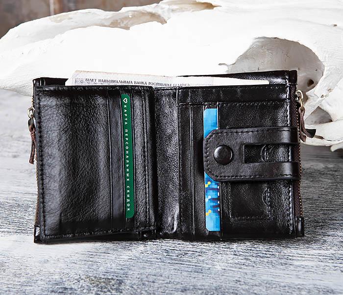 WL307-1 Вместительный мужской кошелек из черной кожи фото 11
