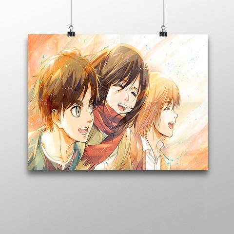 Плакат с Эреном, Микасой и Армином