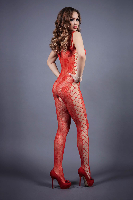 Боди-комбинезон красного цвета с имитацией шнуровки