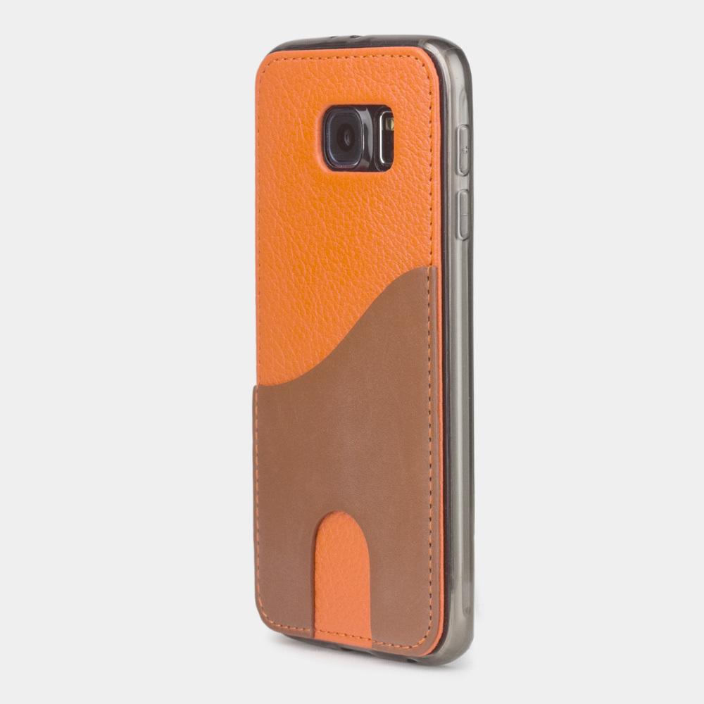Чехол-накладка Andre для Samsung S6 из натуральной кожи теленка, оранжевого цвета