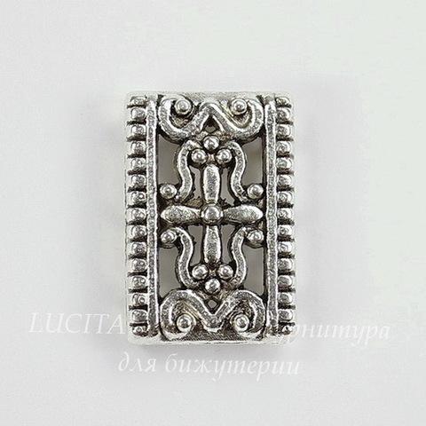 Разделитель на 3 нити 17х12 мм (цвет - античное серебро)
