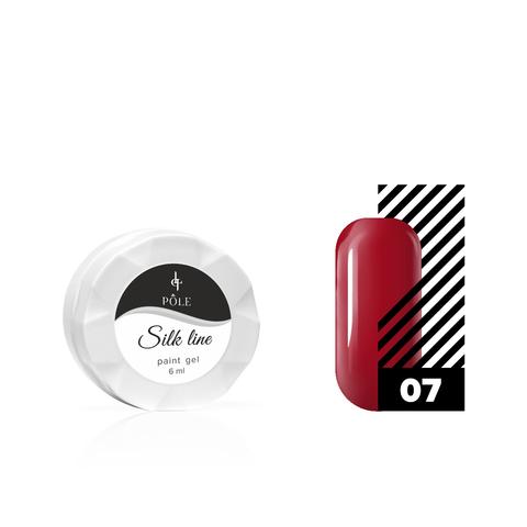 Гель-краска для тонких линий (паутинка) POLE Silk line №07 красная (6 мл.)