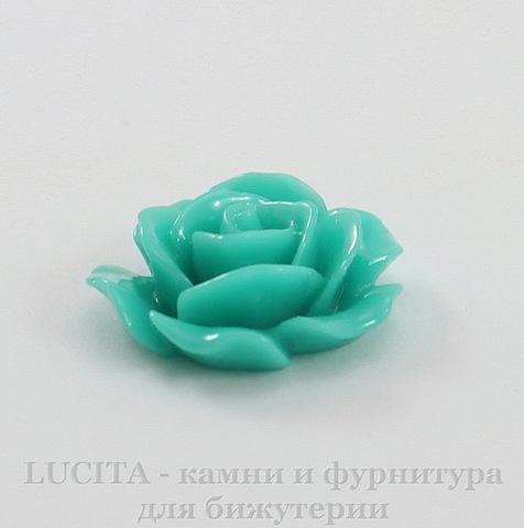 """Кабошон акриловый """"Роза"""", цвет - морская волна, 16 мм"""
