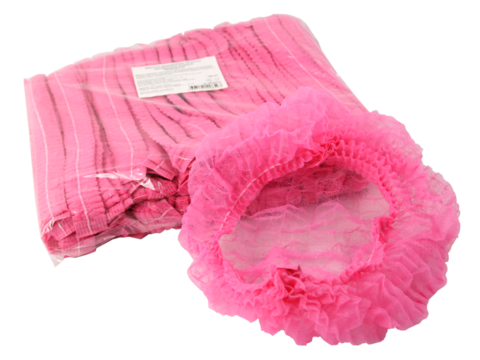 Шапочка-шарлотка одноразовая (1уп - 100шт) розовая