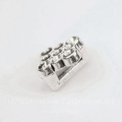 Бусина металлическая (для шнура 6х2 мм) 11х11 мм (цвет - античное серебро)