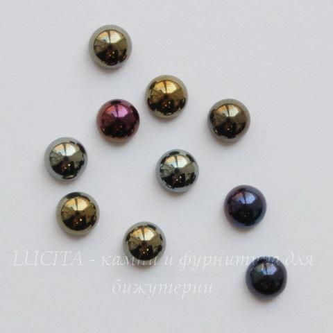 Кабошон круглый Чешское стекло, цвет - темный микс, 5 мм, 10 штук
