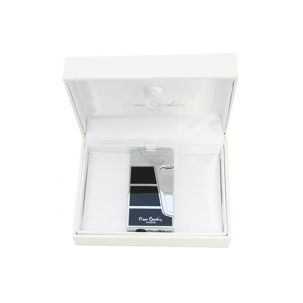 Зажигалка Pierre Cardin кремниевая турбо, цвет хром/черный лак, 3,3х1,3х7,3см