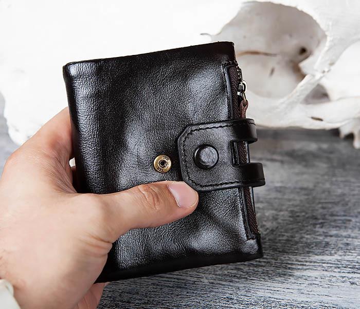 WL307-1 Вместительный мужской кошелек из черной кожи фото 12