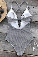 купальник слитный черный серый полосатый