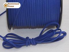 Шнур замшевый плоский  синий 3*1,5  мм