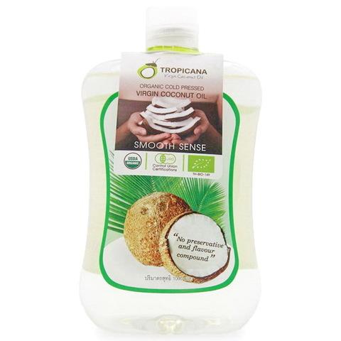 Нерафинированное 100% кокосовое масло Тропикана холодного отжима, 1000 мл